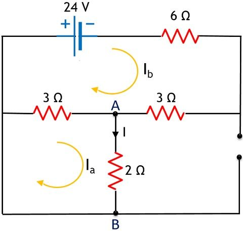 circuit for superposition theorem example - 2